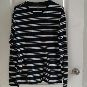H&M striped long sleeve Tee sz L blue white